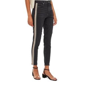 Topshop Jaime Moto Stripe High Rise Skinny Jeans